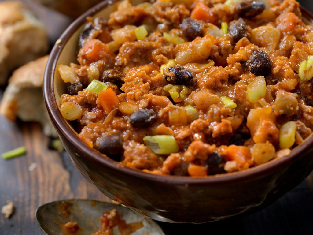 Chili, vegan, rote Linsen, Kidney Bohnen